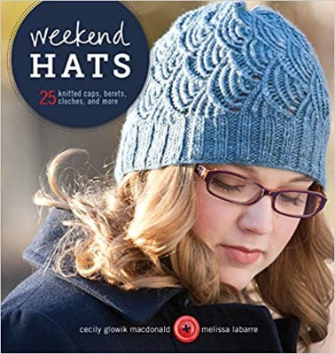 "Book cover of ""Weekend Hats,"" featuring a woman in a knitted hat"