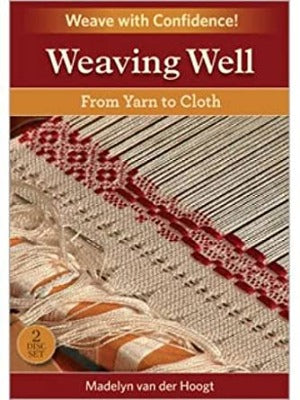 "The DVD cover for ""Weaving Well:From Yarn to Cloth"" featuring a close up of a in-progress weaving project"