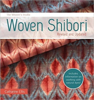 "The book cover of ""Woven Shibori"" which features a close up of a colorful woven pattern"