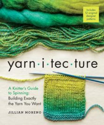 "The book cover for ""yarn-i-tec-ture,"" which includes green fiber and yarn and a knitted swatch."
