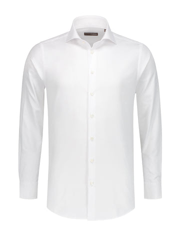 Wit shirt oxford fabric monti PakkenFabriek getailleerd overhemd