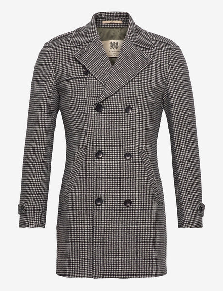 Pied de Poule Double Breasted Overcoat van Bertoni