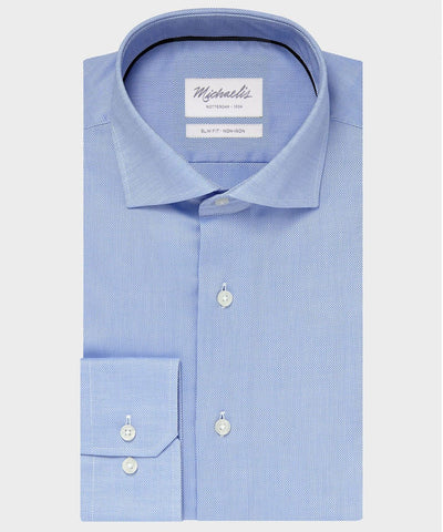 oxford shirt blauw overhemd michaelis shirtdeal slim-fit lichtblauw wide spread cutaway PM0H000018 pakkenfabriek.nl
