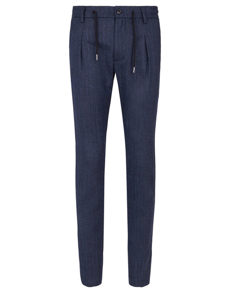 Jog Pant Flex Wool Herringbone Navy