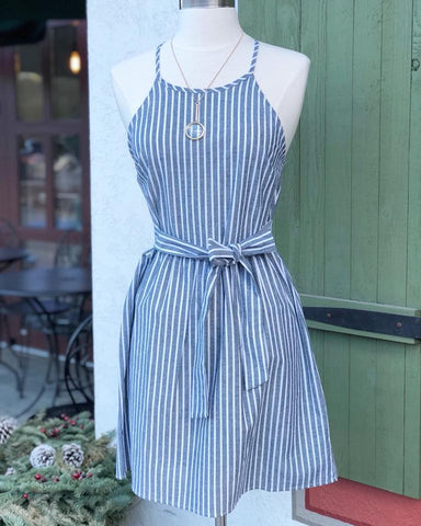 Dress - SS Stripe W.Tie