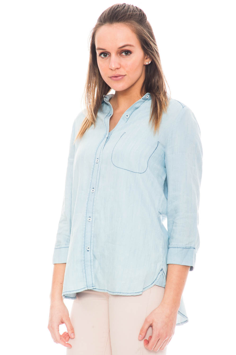 Shirt - Button Down Chambray Shirt with a Back Slit