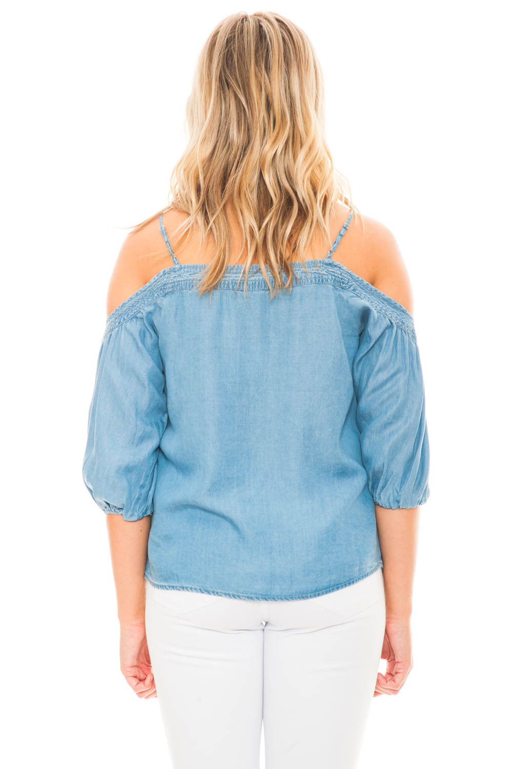 Blouse - Denim Off Shoulder Top With Stitching Detail
