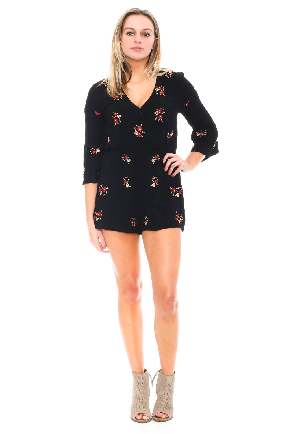 Romper - Floral Embroidered Flared Sleeve Romper