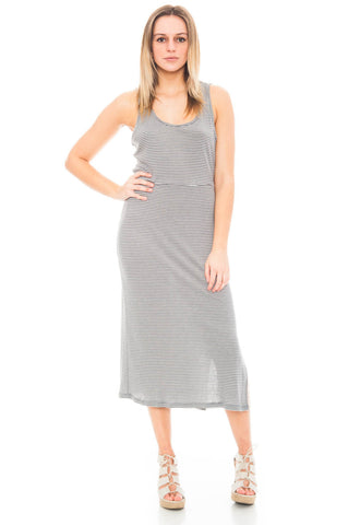 Dress - Striped Midi Dress with Side Slits by Everly