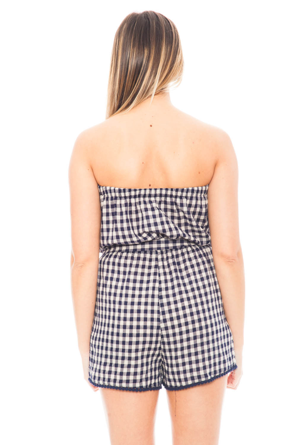 Romper - Gingham Strapless Romper with Floral Patch by Everly