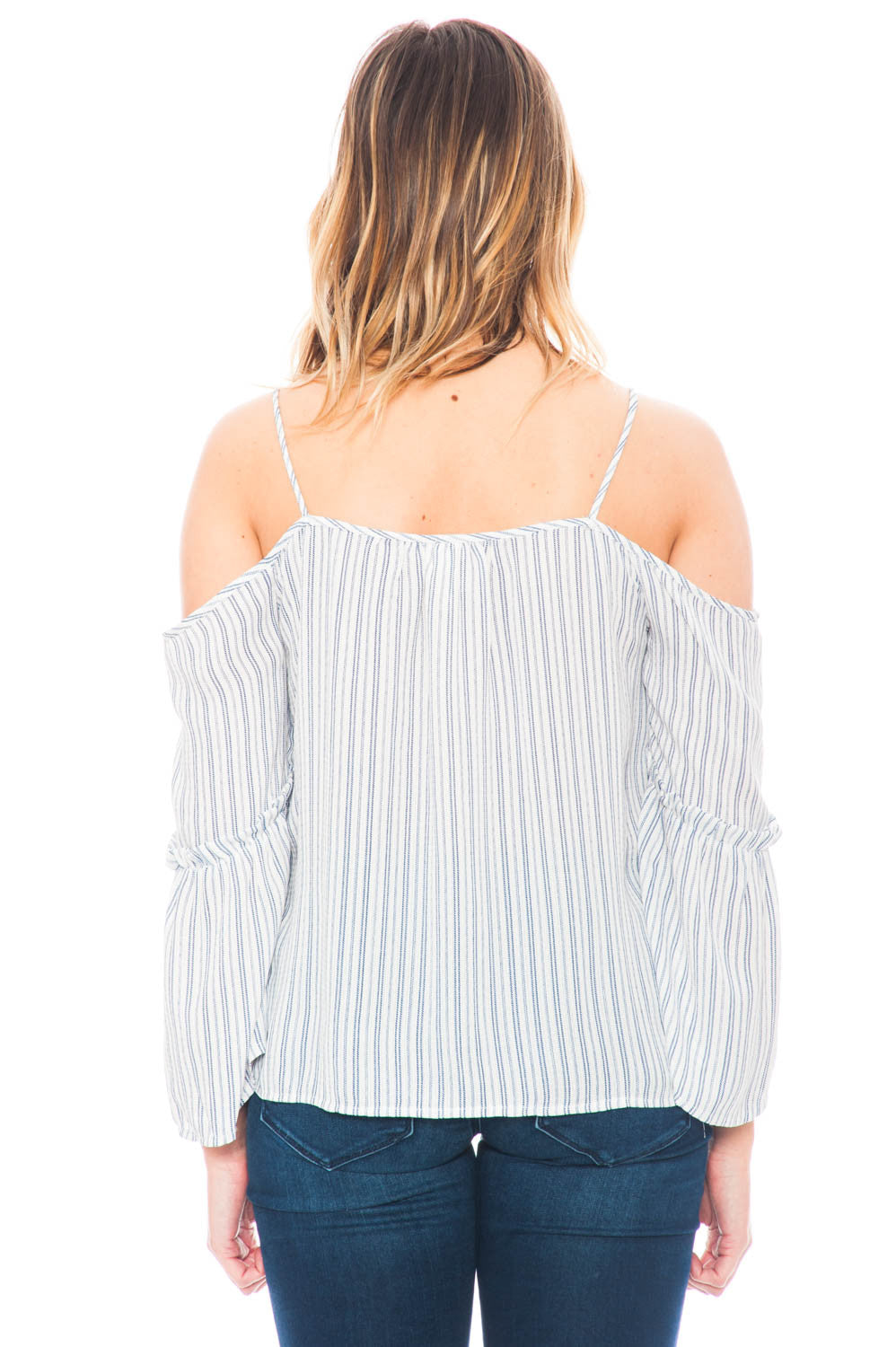 Shirt - 3/4 Sleeve Off Shoulder Top With a Keyhole Front