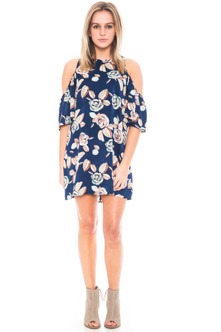 Dress - Floral Peep Shoulder