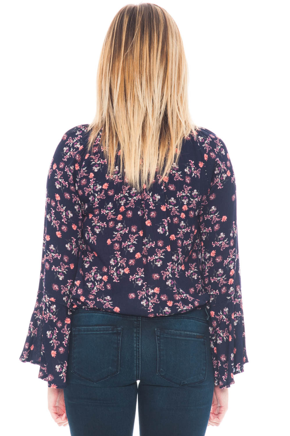 Blouse - Short Floral Bell Sleeve Top by Lush