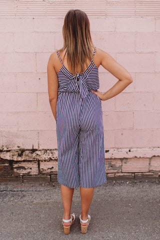 Jumper - Striped Wide Leg Jumpsuit