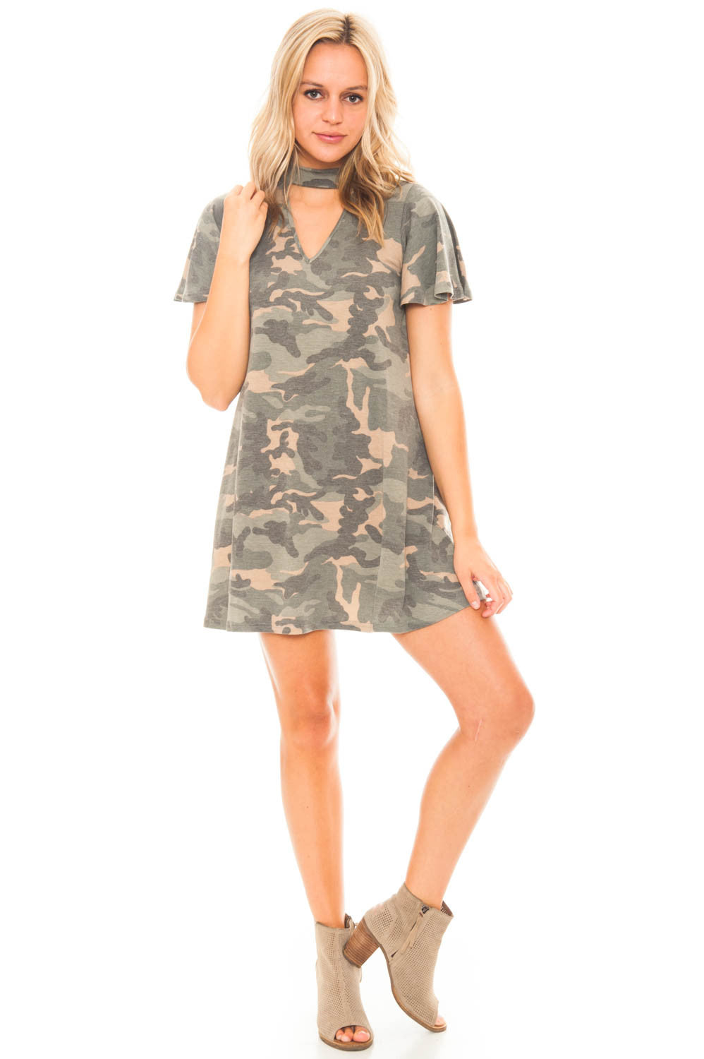 Dress - Mock Neck Camo Dress