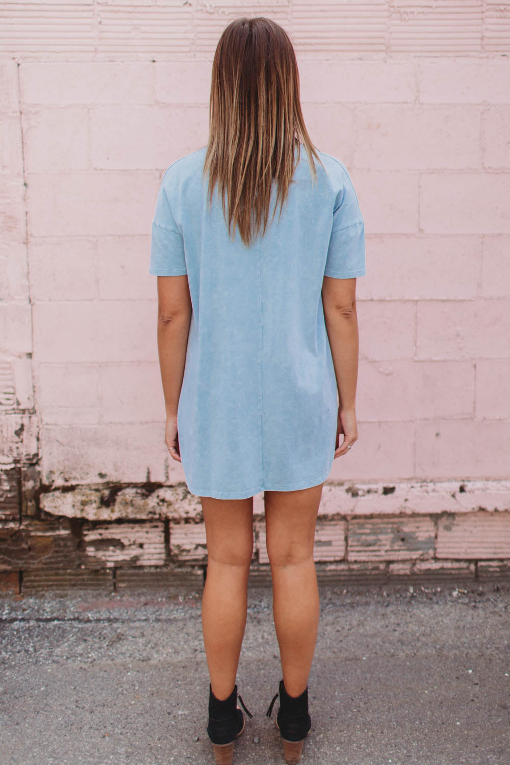 Dress - Short Sleeved Super Soft Choker Tee Shirt Dress