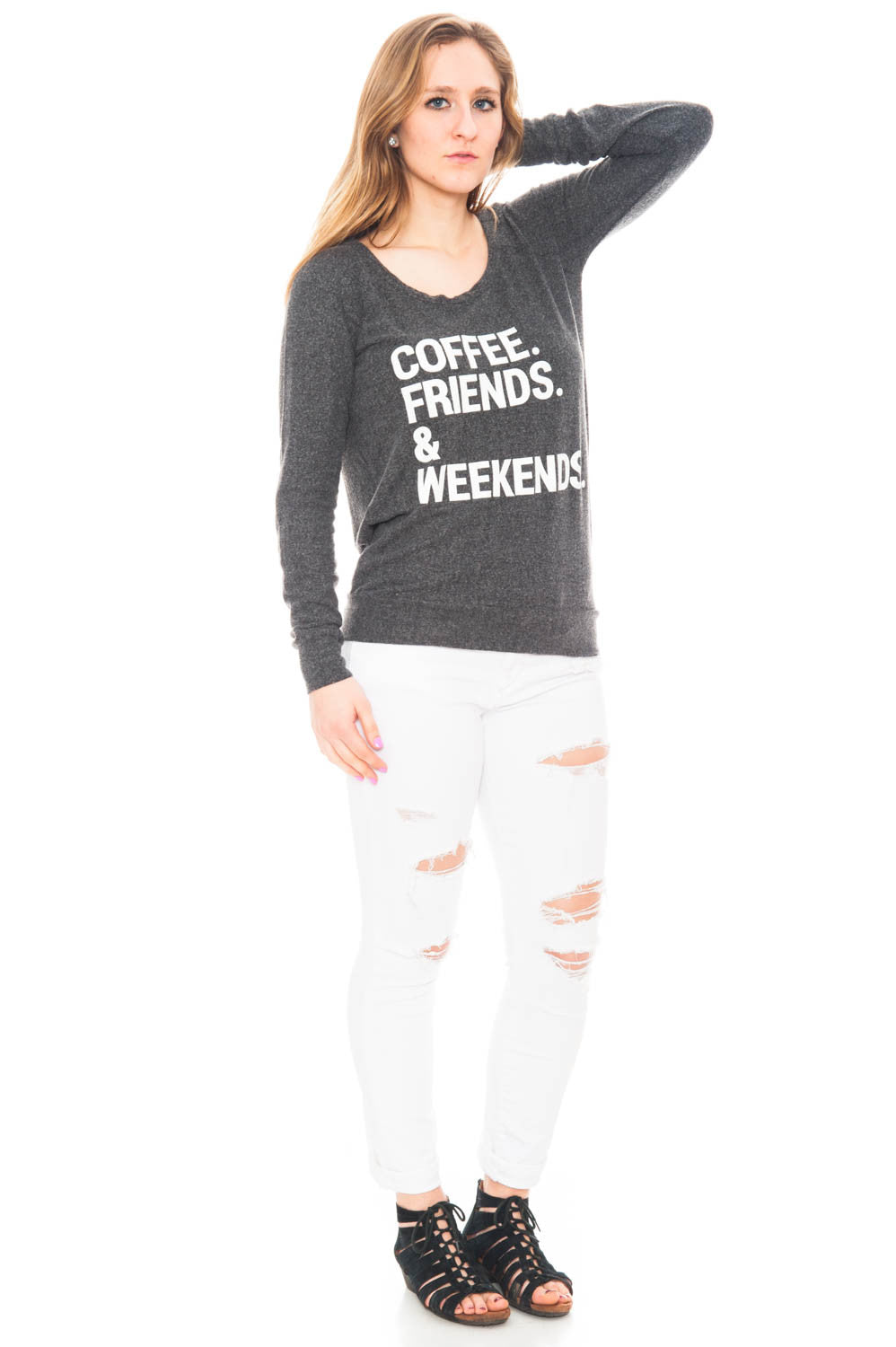 Sweater - Coffee. Friends. & Weekends Open Back Top by Chaser