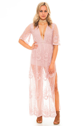 Dress - Plunging Maxi Romper With Lace Skirt Overlay
