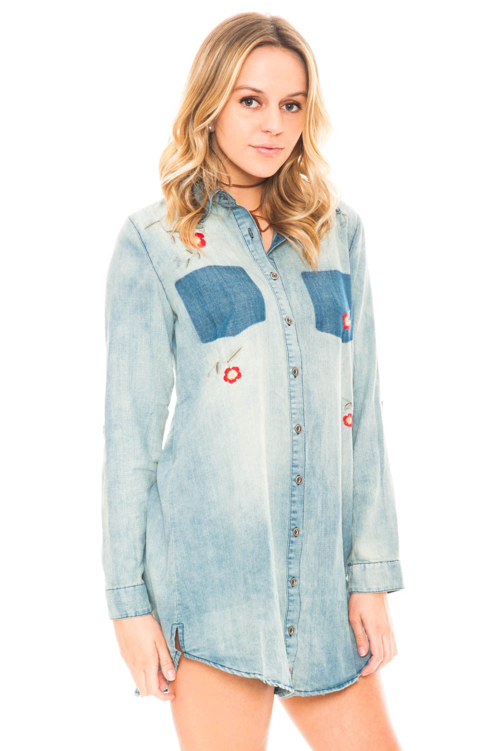 Dress - Embroidered Denim Button Up Dress by En Creme