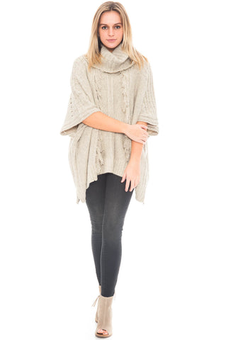 Poncho - Turtle Neck with Fringe