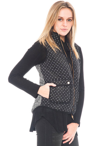 Vest - Polka Dot with Gold zipper (Final Sale)
