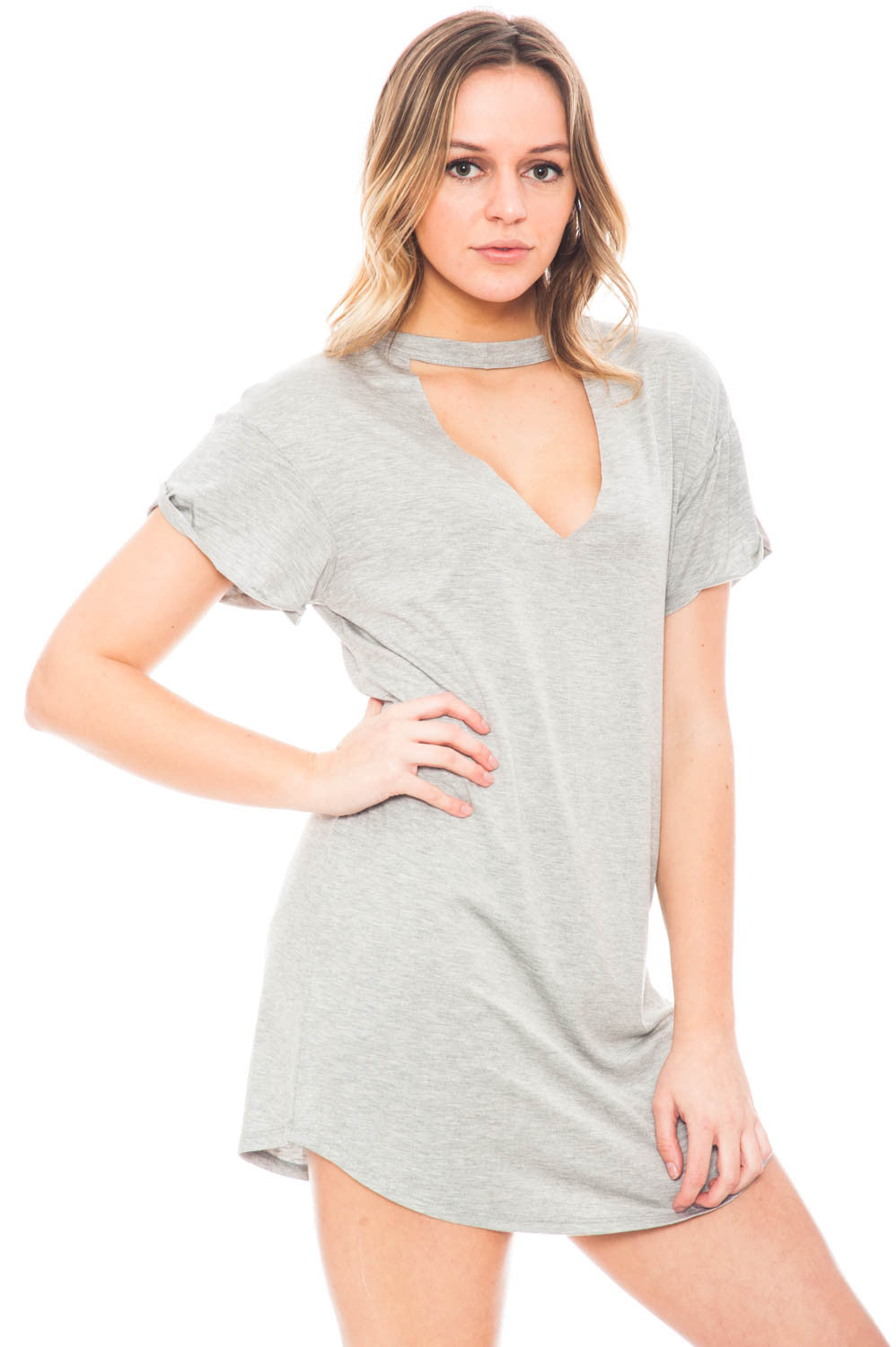 Dress - Short Sleeve Choker T-Shirt Dress