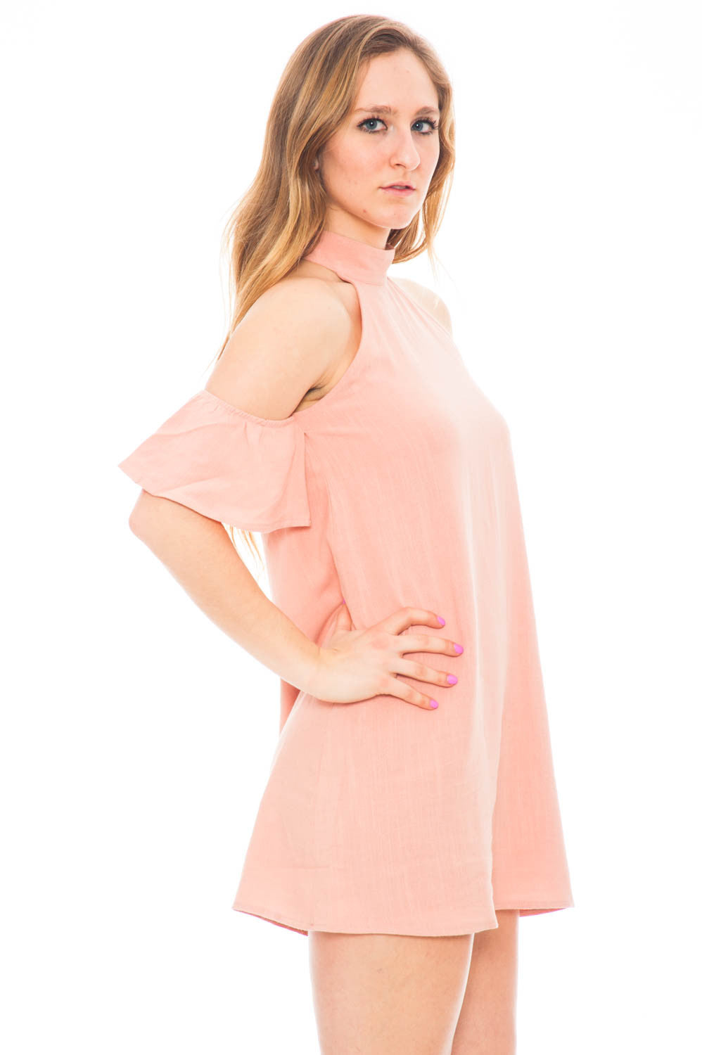 Dress - Mock Neck Cold Shoulder Shift Dress