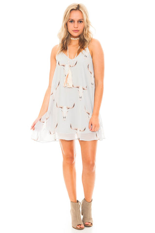 Dress - Flowy Chiffon Bullhead Print Dress With Pockets
