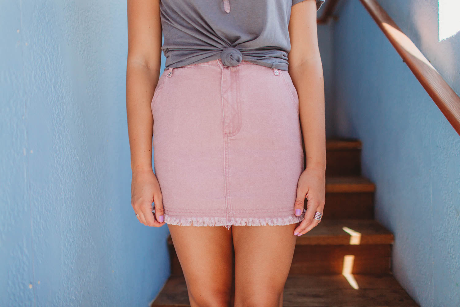 Skirt - High Waist Denim Skirt with Pockets