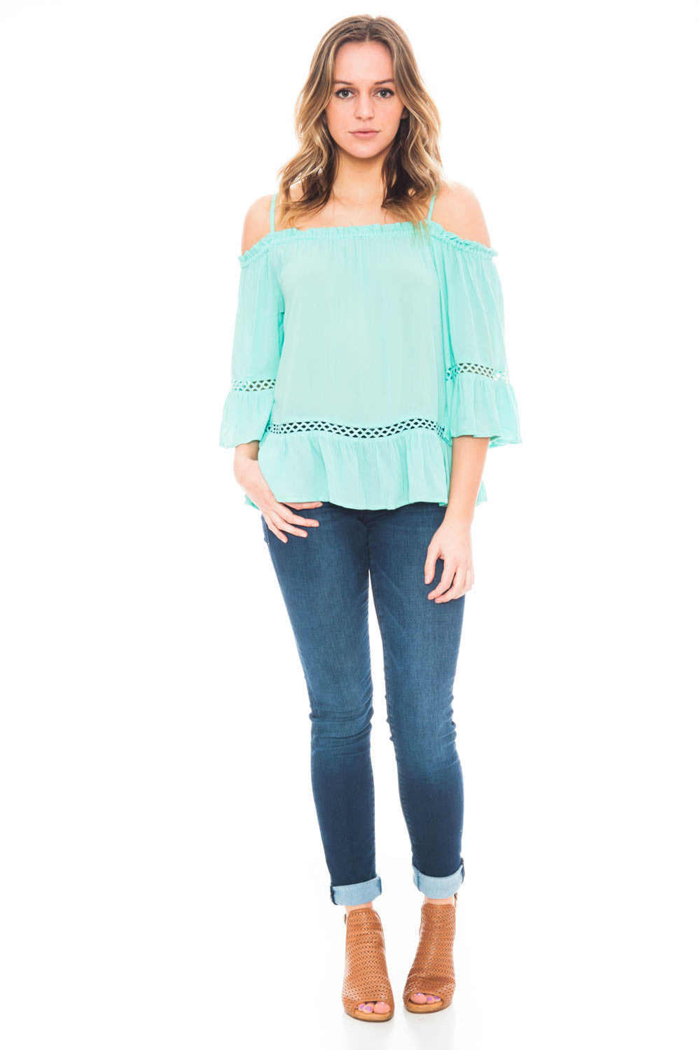 Tank - Boho Off Shoulder Top with a Bell Sleeve