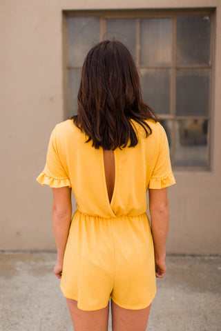 Romper - Open Back Romper With Ruffled Sleeves