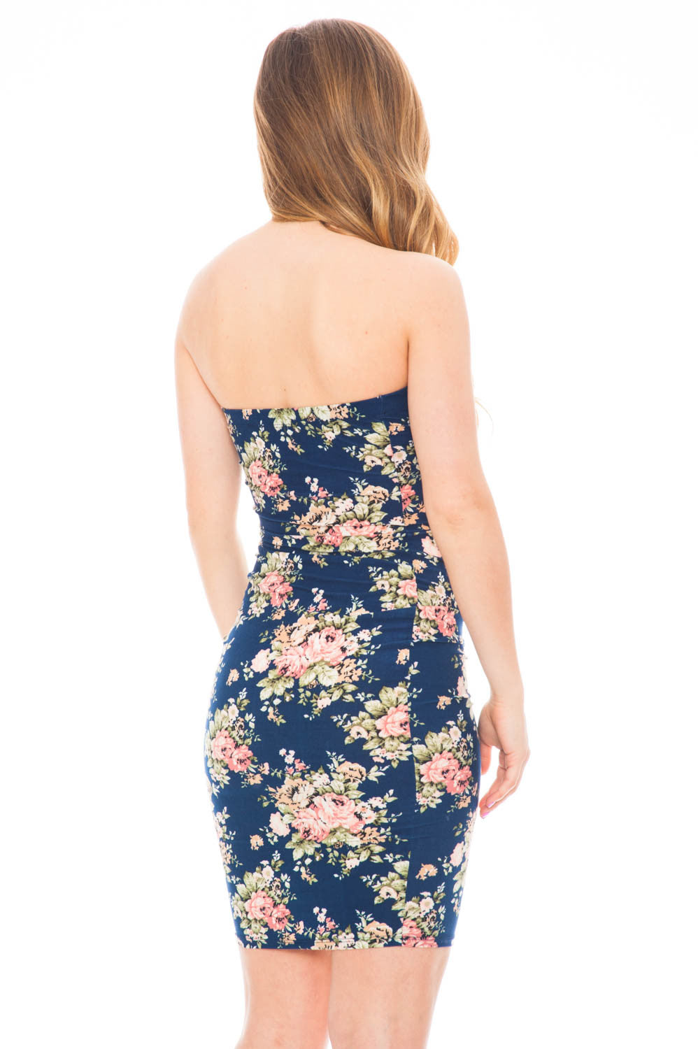 Dress - Floral Strapless Bodycon Dress