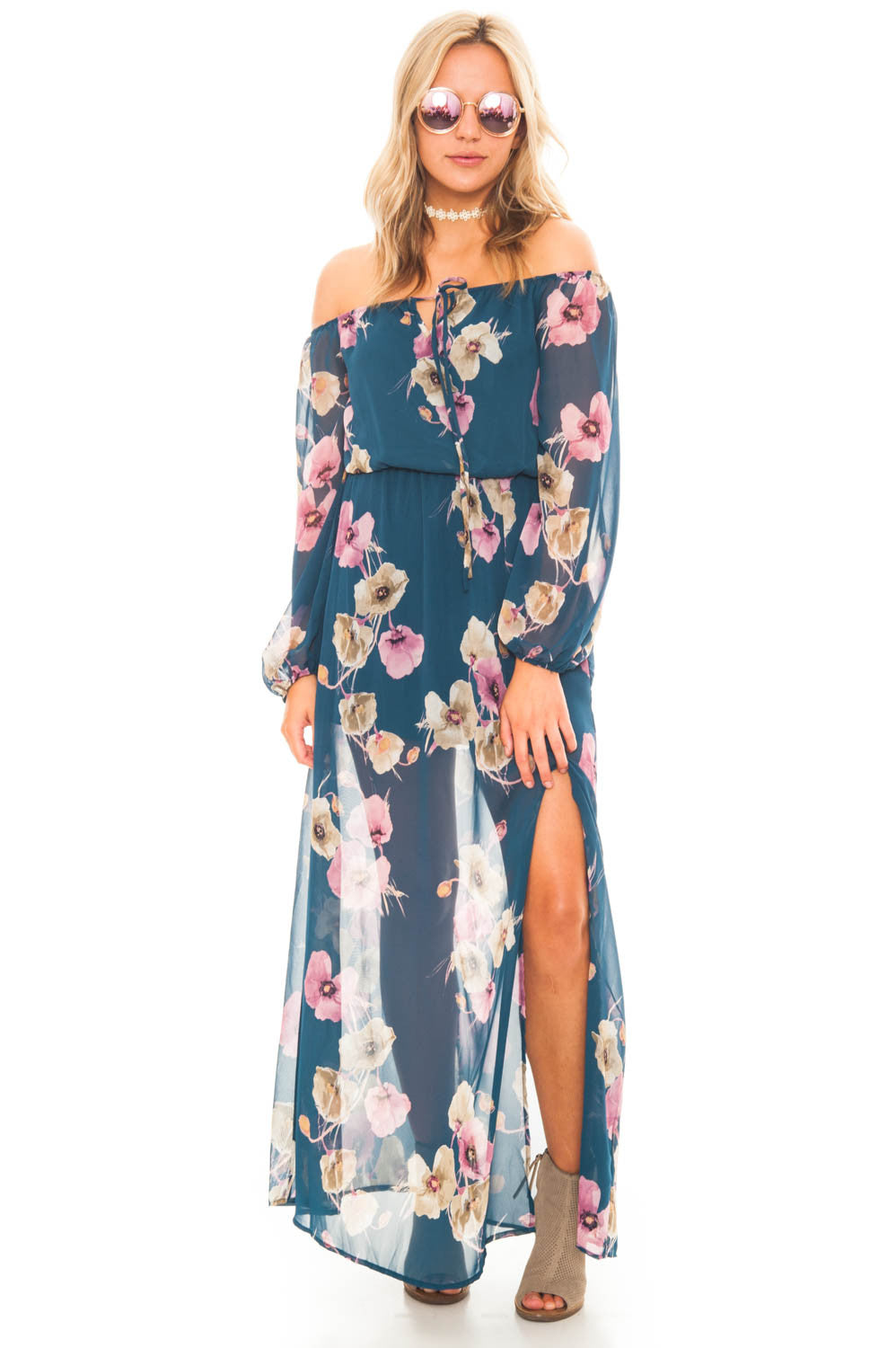 Dress - Off Shoulder Long Sleeve Maxi Dress with a Keyhole Front