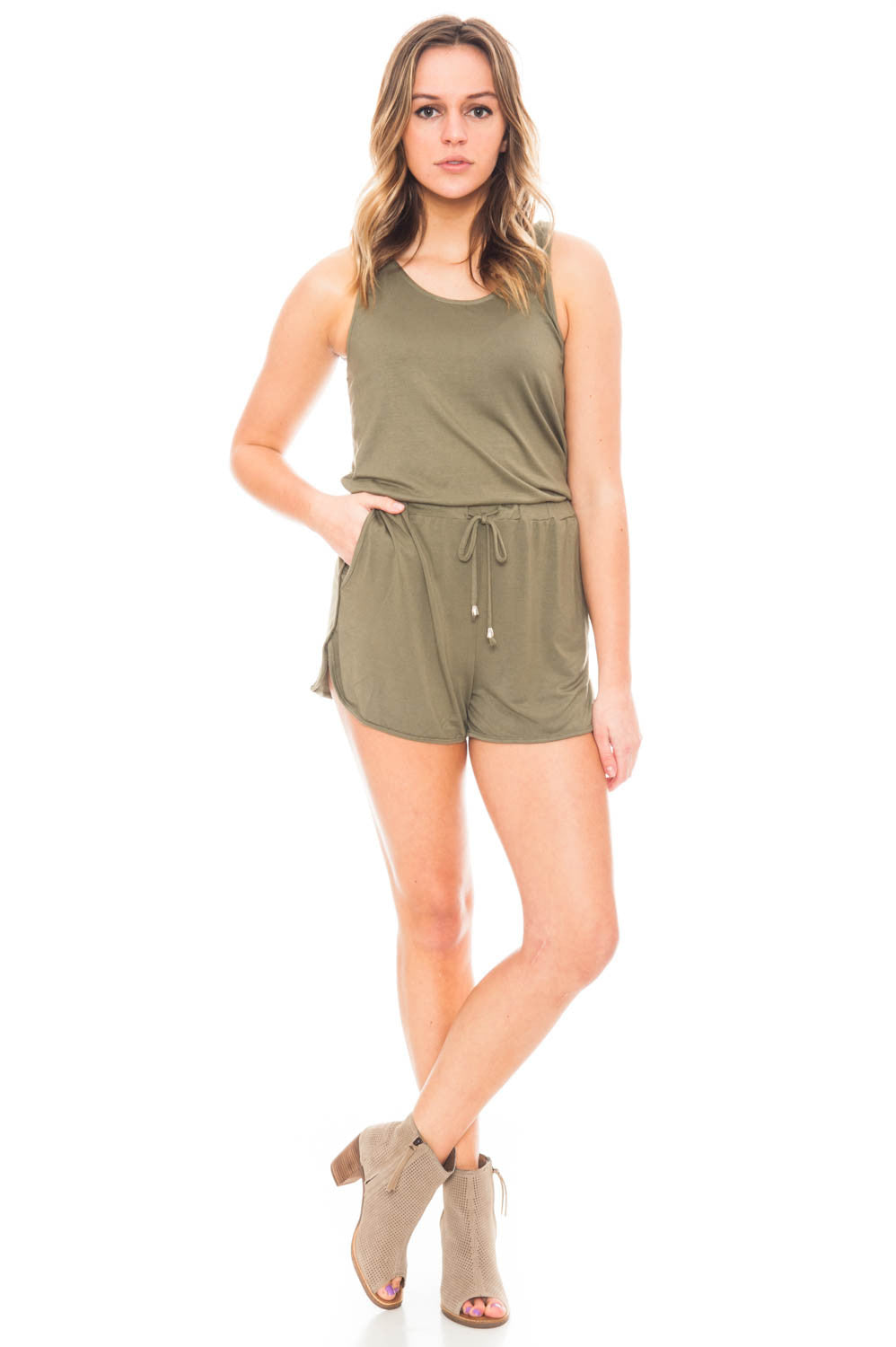 Romper - Super Soft Knotted Back Romper with Pockets