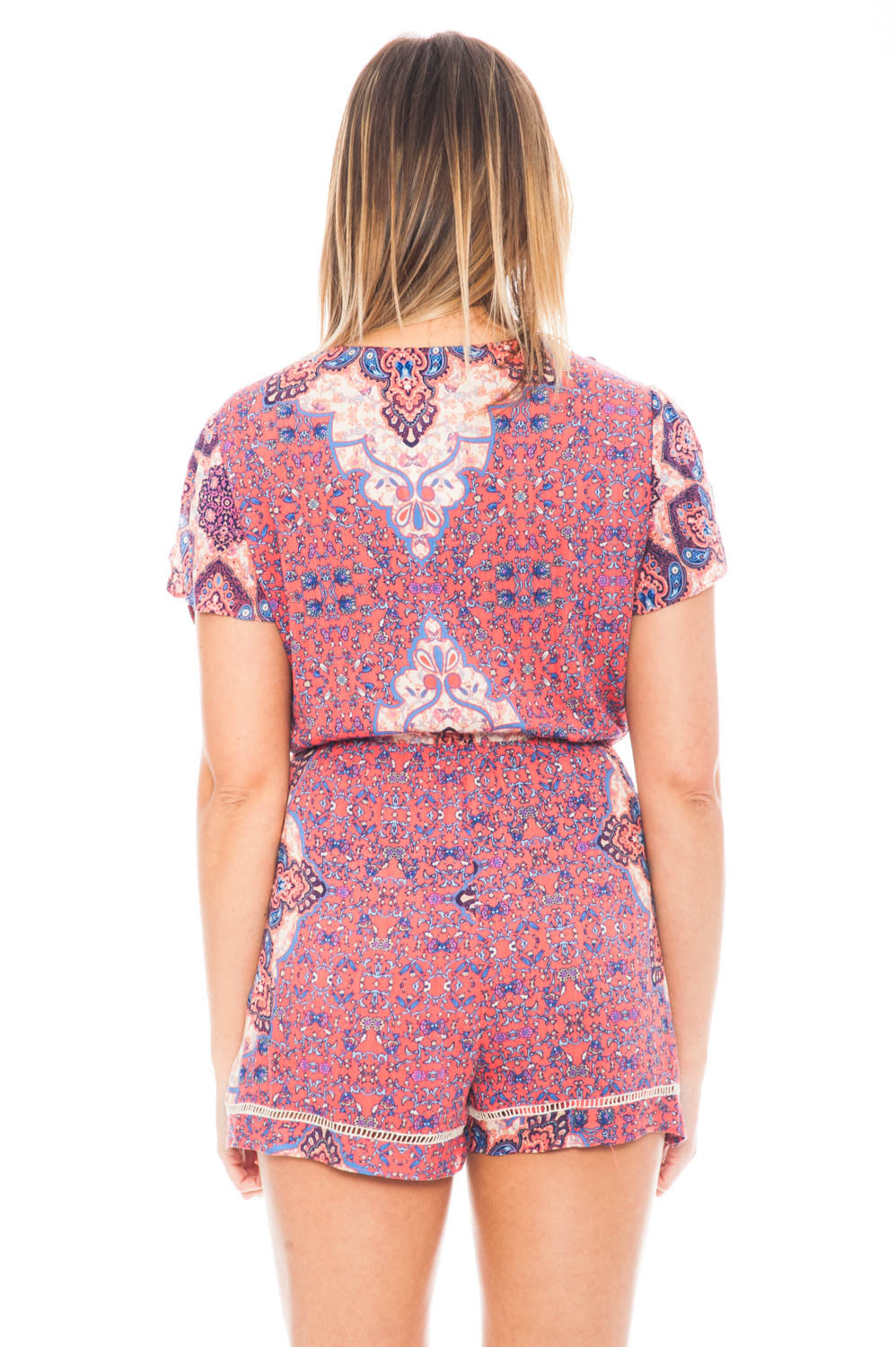 Romper - V-neck Printed Romper with an Elastic Waist by Everly