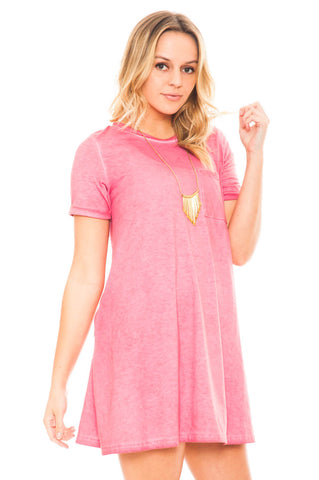 Dress - Casual T-shirt Dress with Pockets