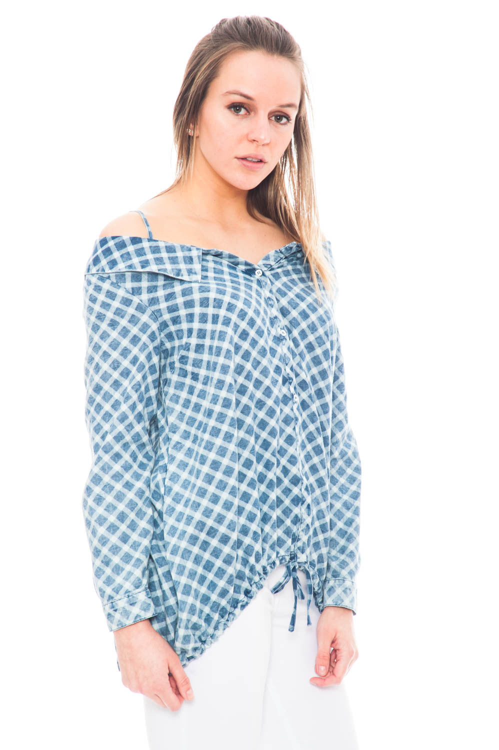 Shirt - Checkered Denim Off Shoulder Top with Collar