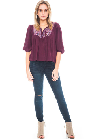Shirt - High Low Peasant Top with Embroidery