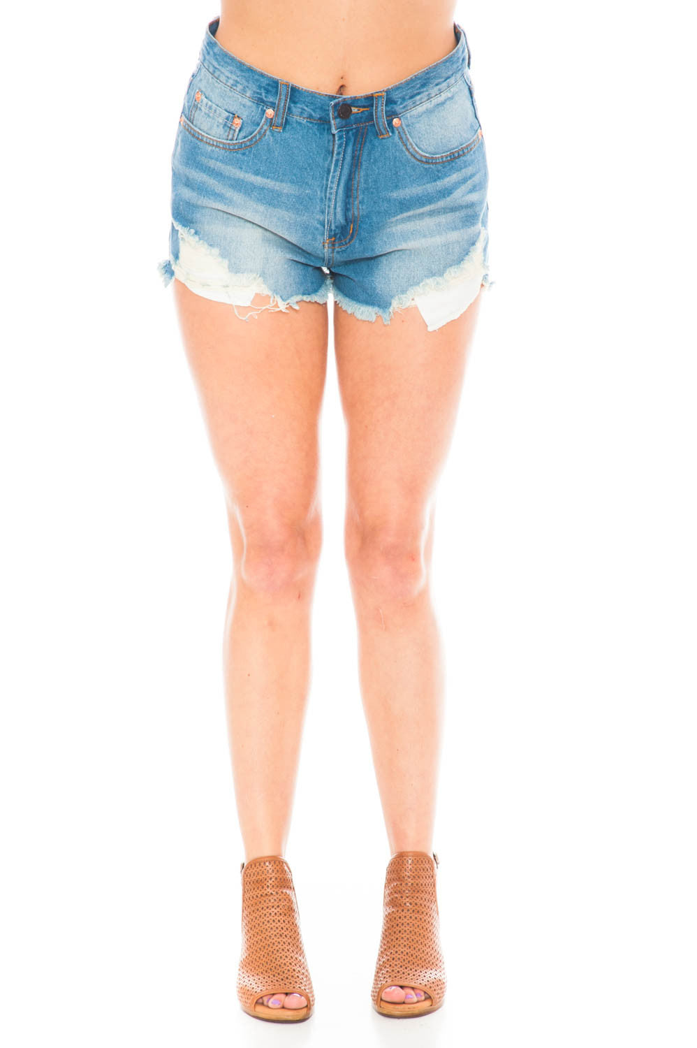 Short - High Waisted Raw Edge Shorts