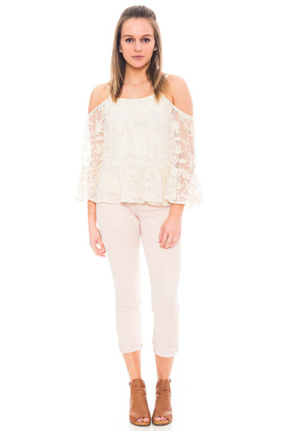 Shirt - Cold Shoulder Lace Top with a Flared Sleeve