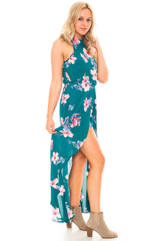 Romper - Floral Romper With Skirt Overlay