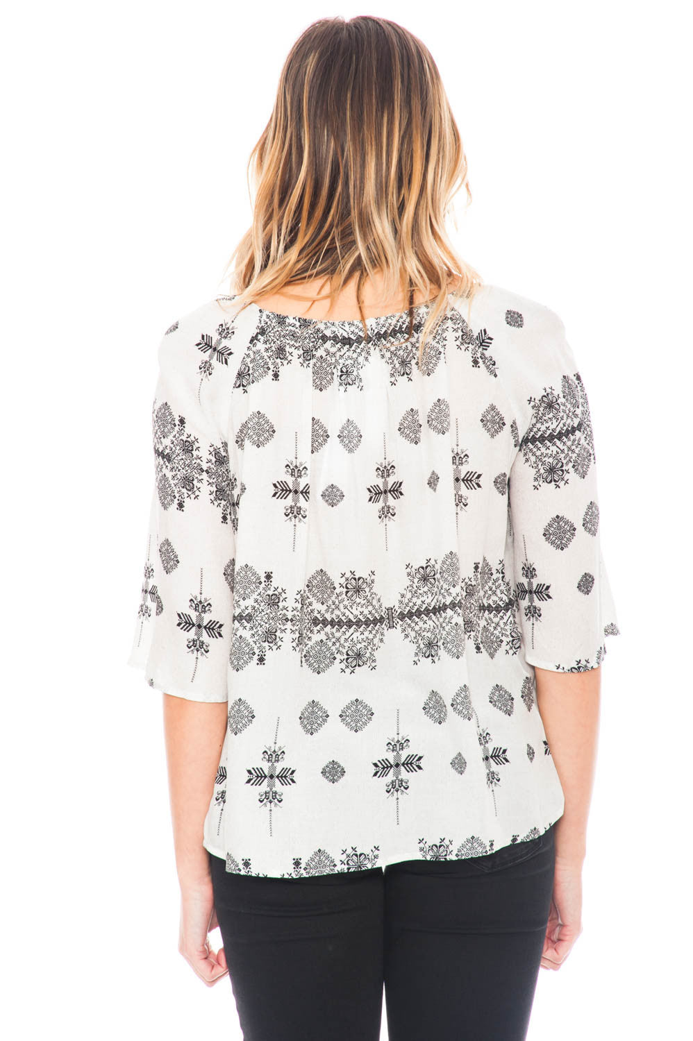 Blouse - Rila by BB Dakota Tribal Print Top with Tassels