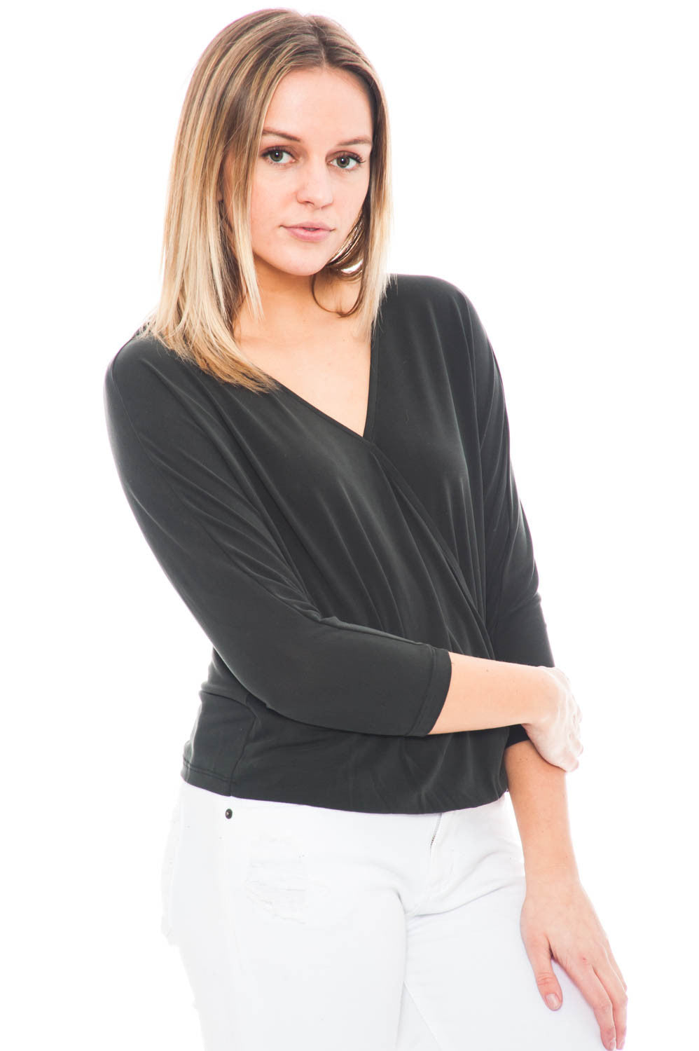 Shirt - 3/4 Sleeve Top with an Overlap Front by Everly
