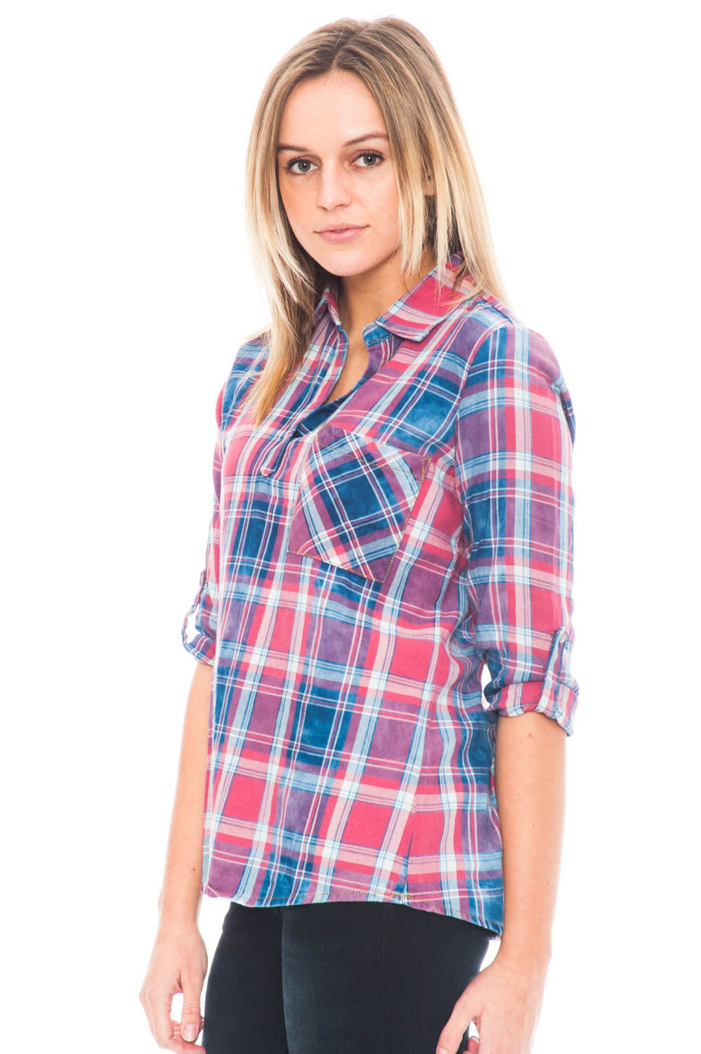 Shirt - 3/4 Sleeve Vintage Plaid Top with Relaxed Collar