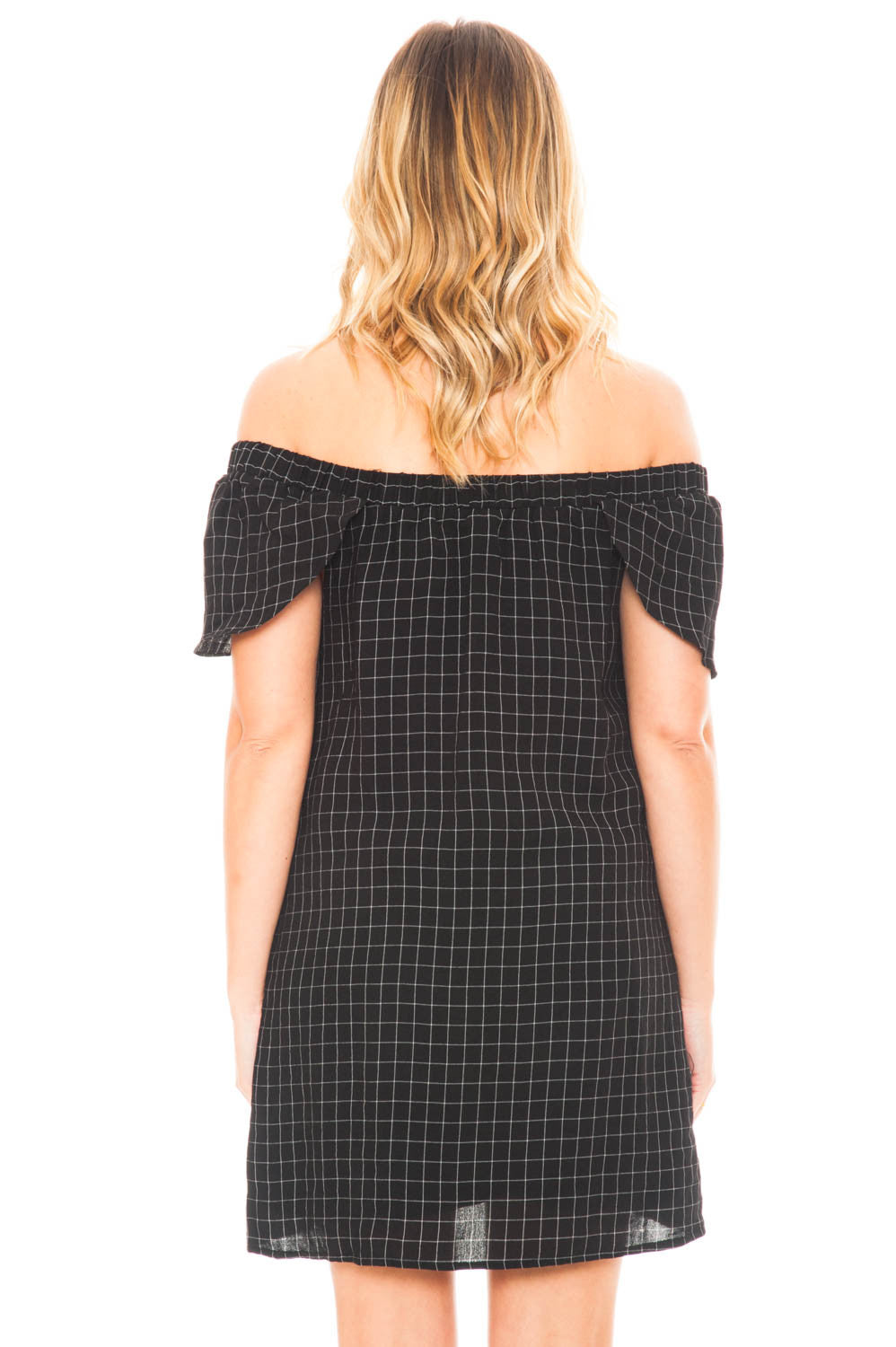 Dress - Off Shoulder Checkered Dress with Pockets