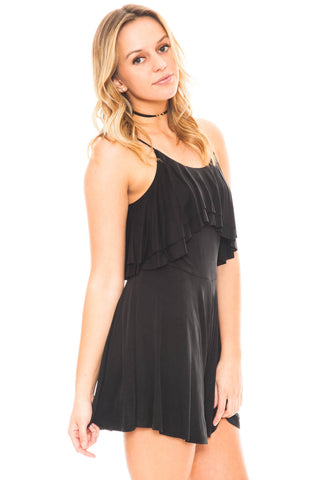 Romper - Tiered Front Romper with Adjustable Straps