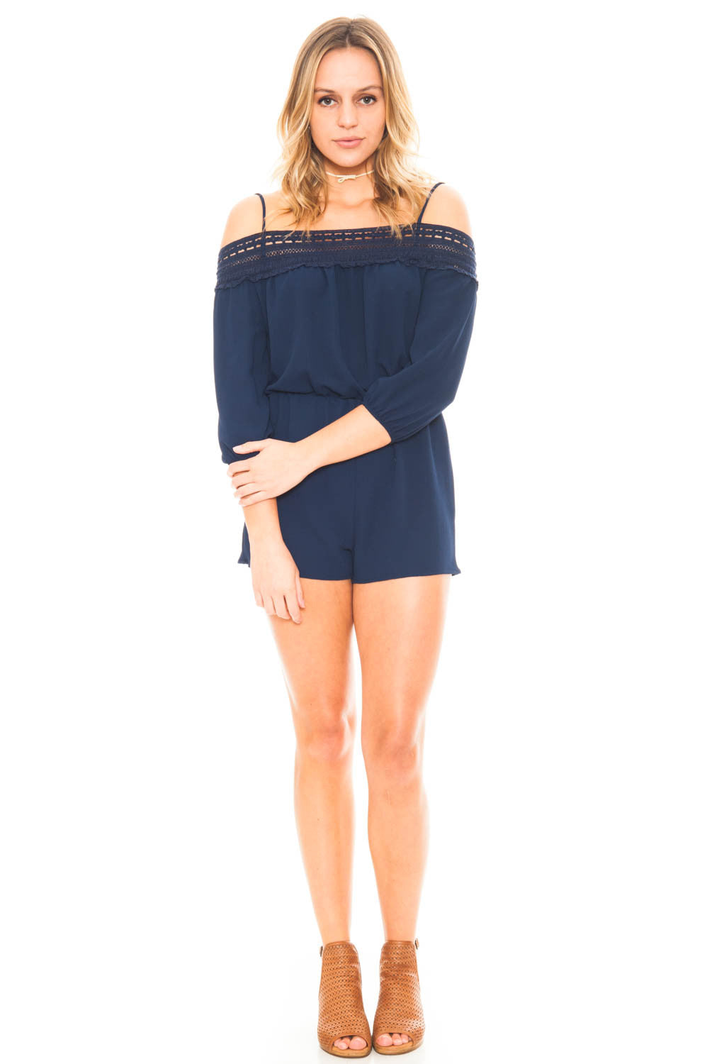 Romper - 3/4 Sleeve Cold Shoulder Romper with Crochet Neckline