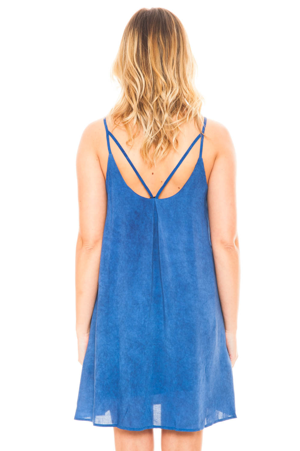 Dress - Fully Lined V-Neck Dress with Strappy Back Detail