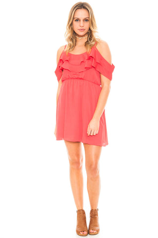 Dress - Chiffon Cold Shoulder Ruffle Dress by Everly