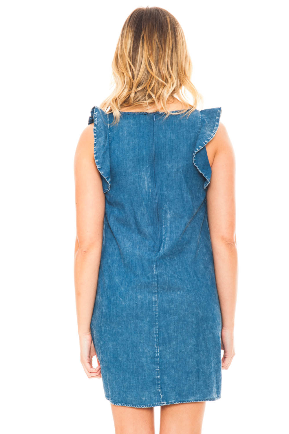 Dress - Denim Ruffled Shoulder Dress with Pockets